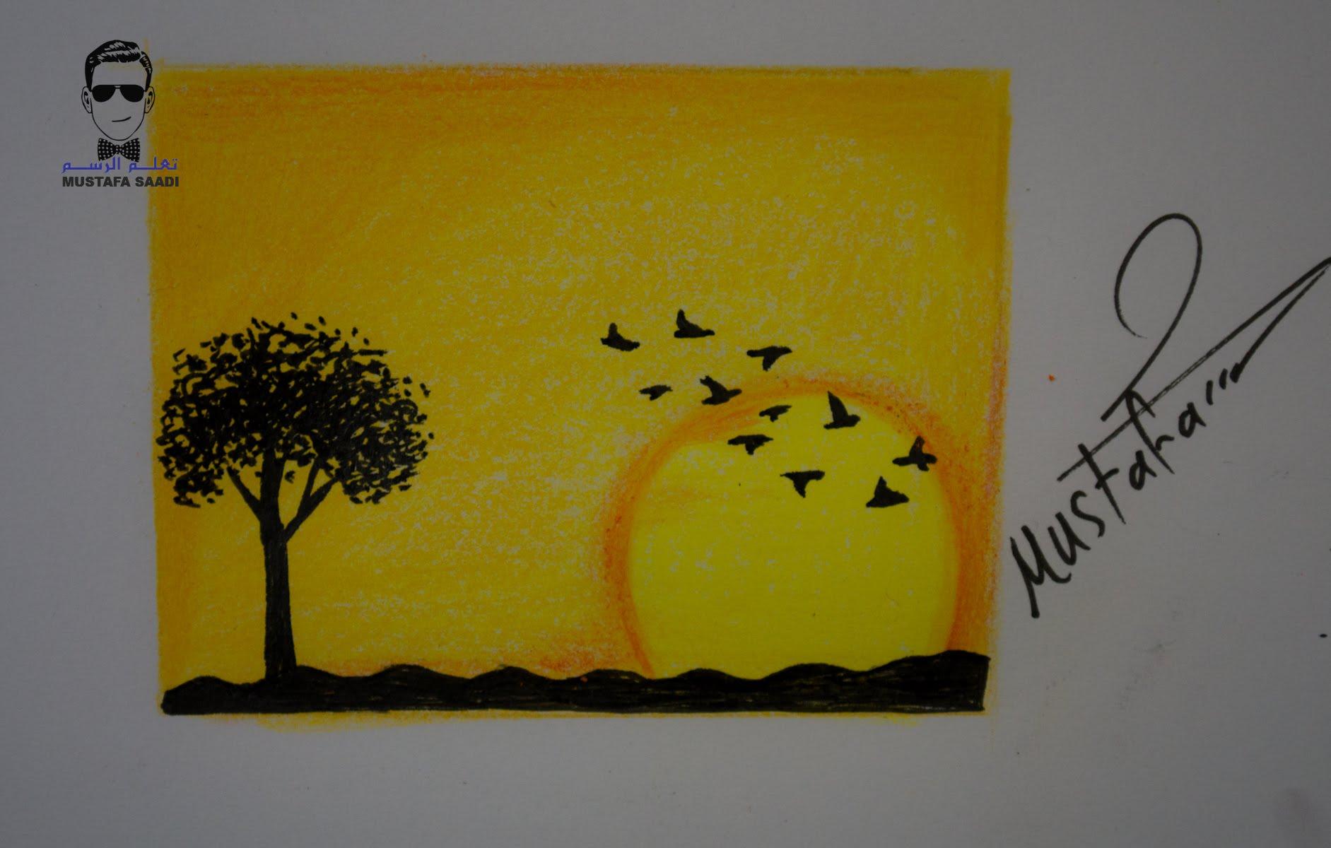 رسم منظر طبيعي سهل للاطفال بالخطوات علم طفلك رسم منظر طبيعي جميل