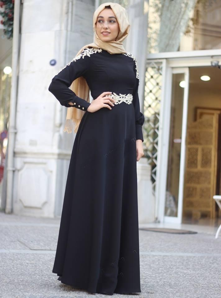 بالصور فساتين سواريه بسيطه وشيك للمحجبات , اجمل الفساتين السواريه للمحجبات