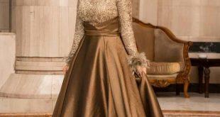 صورة فساتين سهرة للمحجبات , اجمل الفساتين لحفلات 2020